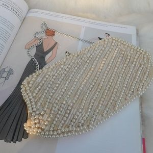 Vintage Pearl Beaded Clutch with Chain
